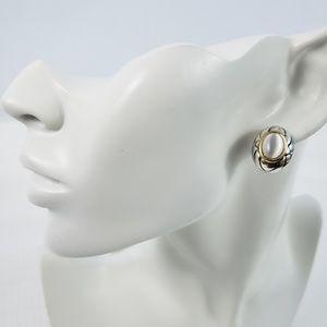 Roman Signed Silver Tone Faux Pearl stud Earrings